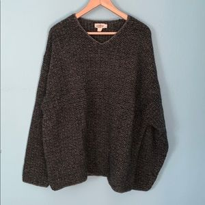 J Crew Size Large Gray 100% Wool V Neck Sweater